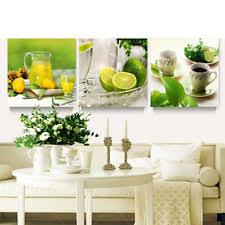 3Pcs Modern Fruit Lemon Canvas Painting Pictures Kitchen Living Room Decor Creat
