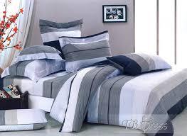 Bedding Dark Blue White and Grey Clor Zebra forter 4 Piece