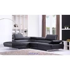 grand canapé canapé grand angle en cuir avec têtières réglables vittoria noir