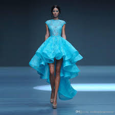 light blue high low prom dresses princess lace high neck