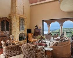 Inspiration For A Mediterranean Living Room Remodel In Austin With Standard Fireplace And Stone