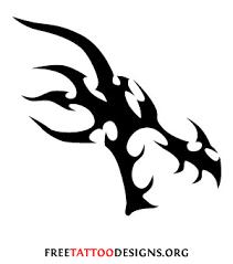Tribal Dragon Head Tattoo Black