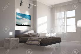 modernes schlafzimmer mit leinwand berlin skyline über dem bett