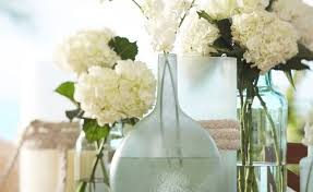Flowers In Sea Glass Vases