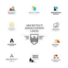 company bureau vector flat architecture company logo collection stock vector