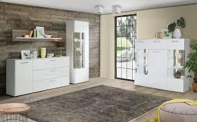 esszimmer hochglanz weiß 4 teilig mit led vitrine sideboard expendio