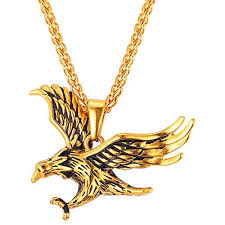 18K Gold Plated Chain Cool King Of The Sky Hawk Pendant Necklace