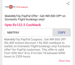 MakeMyTrip PayPal Offer : Get INR 800 Off* On Domestic ... Makemytrip Discount Coupon Codes And Offers For October 2019 Leavenworth Oktoberfest Marathon Coupon Code Didi Outlet Store Hotel Flat 60 Cashback On Lemon Ultimate Hikes New Zealand Promo Paintbox Nyc Couponchotu Twitter Best Travel Only Your Grab 35 Off Instant Discount Intertional Hotels Apply Make My Trip Mmt Marvel Omnibus Deals Goibo Oct Up To Rs3500 Coupons Loot Offer Ge Upto 4000 Cashback 2223 Min Rs1000