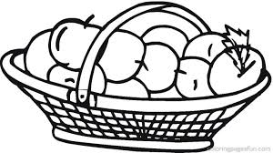 Apple Basket Clipart Coloring Pages Free Images