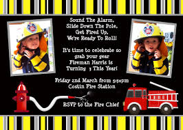 Firefighter Theme Birthday Party Invitations