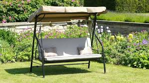 luxury beige swing bed 3 seater garden swing seat with cushions