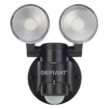 Defiant DFI-5936-BK 180-Degree 2-Head Outdoor Motion Activated Black ...