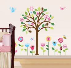 Beautiful Falling Cherry Blossom Floral Wall Decal With Birds For Bedroom Simple Diy Baby Nursery Design