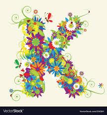 Letter K Floral Design Royalty Free Vector Image