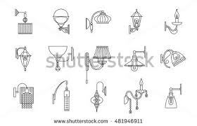 Wall Lamps Line Icons Set Vector Illustration