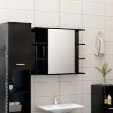 bad spiegelschrank hochglanz schwarz 80x20 5x64 cm spanplatte