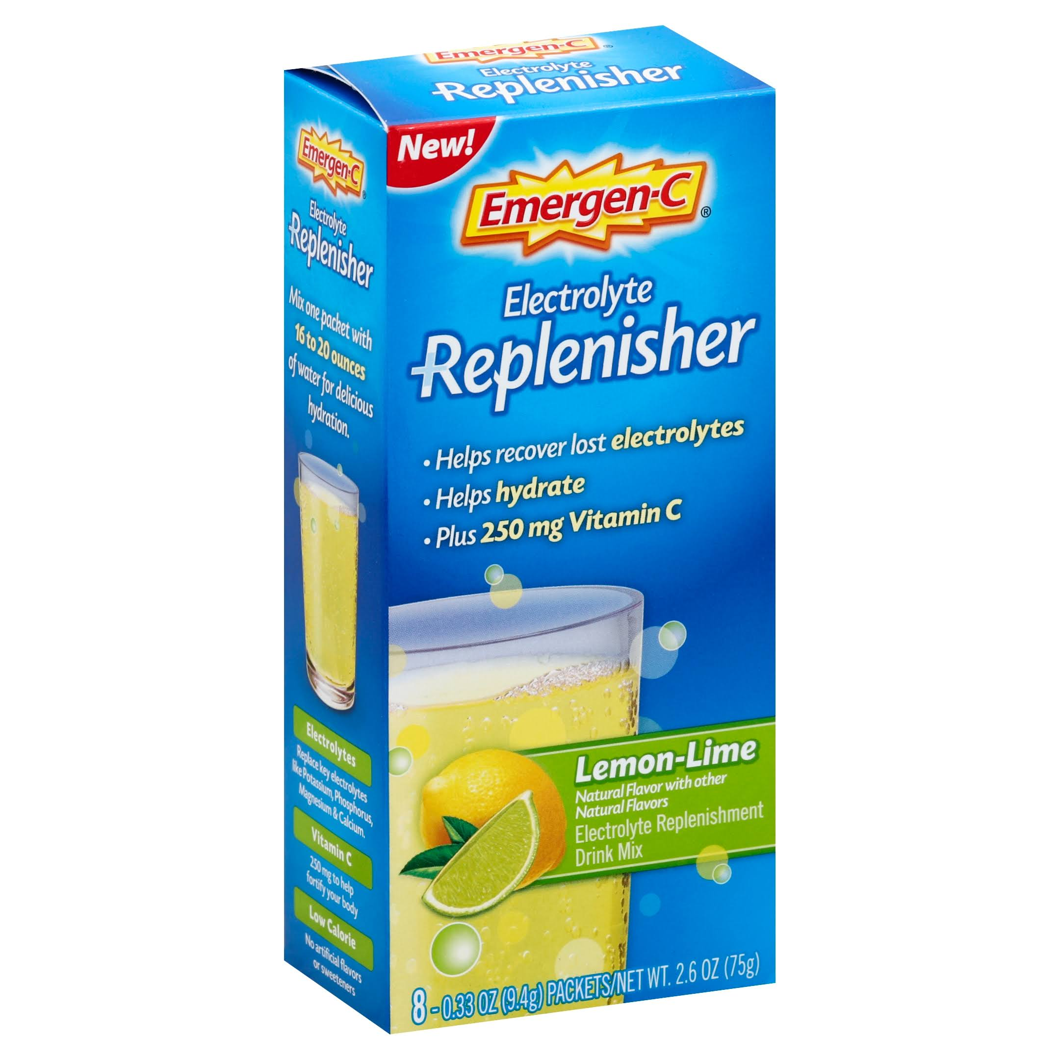 Emergen-C Replenisher Electrolyte Replenishment Drink Mix - 8 Packets, 0.33oz, Lemon-Lime