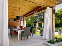Privacy Fence Screen Ideas Patio White Curtains Outdoor Dining Area