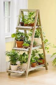 Indoor Wooden A Frame Plant Stand with Galvanized Plant Shelf Tray Liners