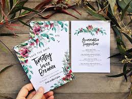 Australiana Save The Date And Wedding Invitation Set