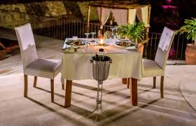 Romantic Dinner Setting Candlelight Table