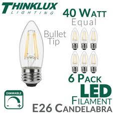 40 watt equal led filament candelabra light bulb b11 earthled
