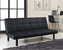 single faux leather sofa bed in black spencer sofabed amazon co