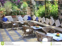 Outdoor Restaurant Cafe Seating Arrangements Stock Photo Patio Set Seats 8
