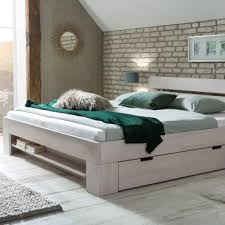 woodlive bett easy in kernbuche massivholz weiß lackiert liegefläche wählbar für schlafzimmer oder gästezimmer