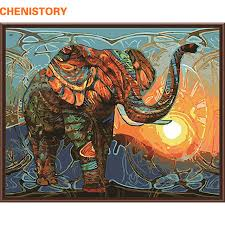 CHENISTORY Abstract Painting Africa Elephant Animals DIY By Numbers Modern Wall Art Canvas For
