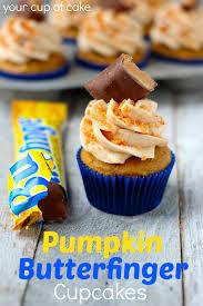 BUTTERFINGER Buttercream On Pumpkin Cupcakes 4 Butterfingers Normal Sized
