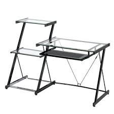 desk walker edison glass and metal corner computer desk w