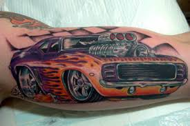Racing Car Color Ink Tattoo On Bicep