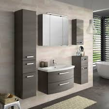 details zu badezimmer möbel set grau bad waschplatz spiegelschrank hochschrank wandschrank