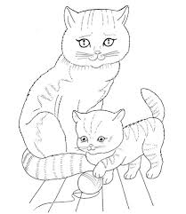 Cat Mother And Kitten Coloring Page