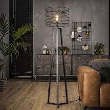 famlights stehleuchte riccardo aus metall in antharzit 1x e27 industrial design edle stehle für wohnzimmer schlafzimmer designerleuchte