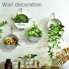 Rustic Vintage Wooden Hanging Flower Pots Holder Wall Decoration Ideas Basket Hangings