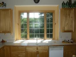 Kitchen Curtain Ideas For Bay Window by Inspiration Smart Oak Wooden Window Trim As Treatment Kitchen