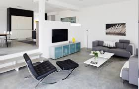 Free Perfect Modern Minimalist Apartment Living Room Design With Permanent Half Wall Divider And Concrete