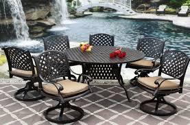 Cast Aluminum Patio Furniture With Sunbrella Cushions by Nassau Cast Aluminum Outdoor Patio 7pc Set 60 Inch Round Dining