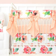 Coral And Mint Crib Bedding by Boho Chic Floral Bumperless Crib Bedding Caden Lane