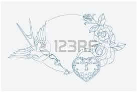 Coloring Page Motif With Old School Tattoo Love Theme Symbols Postcard Proportion Stock Vector