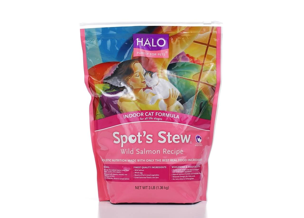 Halo Spot's Stew Natural Dry Cat Food - Indoor Cat, Wild Salmon Recipe, 3lbs