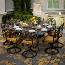 8 Person Outdoor Table by Propane Fire Pit Table Set 7 Piece Cast Aluminum Patio Furniture