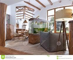 ansicht der halle in das wohnzimmer mit einem aquarium