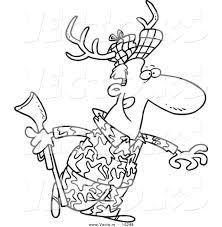 Vector Of A Cartoon Deer Hunter Wearing Antlers