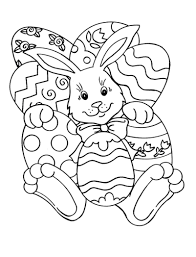 Easy Easter Coloring Pages Bunny And Eggs