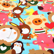100 Cotton Twill Cloth Cartoon Big Pattern Animals DIY For Kids Bedding Cushions Sheet Handwork