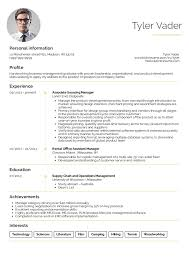 Resume Examples By Real People Business Management Graduate Cv Example Education Of For High School