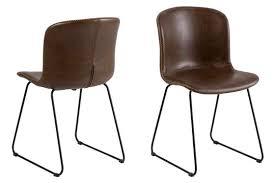 moderner esszimmer stuhl im braunen lederlook